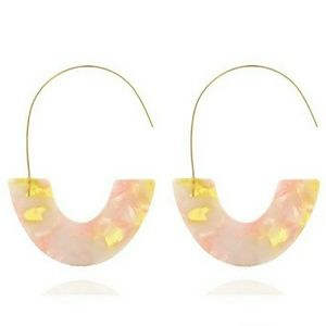 Pink speckle acrylic earrings with a large hook